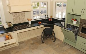 An example of an accessible open kitchen.
