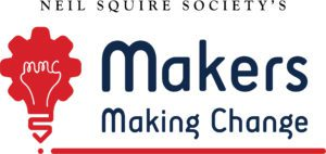Makers Making Change red and blue logo features red light bulb with bulb shaped like a gear