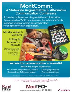 MontComm flyer in green and turquoise, shows mother smiling and holding laughing little boy with brown hair, communication devices spread on the table in front of them.