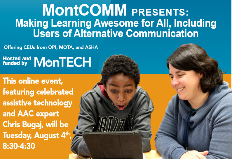 Title of MontComm with image of Michelle and a young teenager playing with an iPad. Teenager is making a 'wow' face.