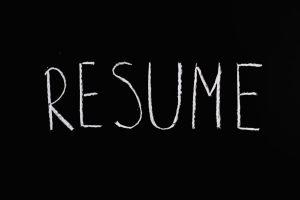 Word Resume written in chalk on a chalkboard