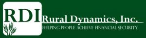Rural Dynamics logo, white lettering on green background.