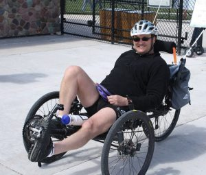 Tom Thompson on his recumbent bike