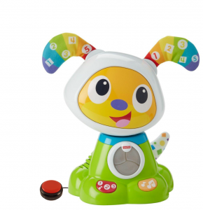 Bow Wow switch-activated toy is hard plastic, lights up, brightly colored.