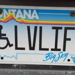 Sherene's license plate. Wheelchair symbol followed by LVLIFE. Interpret as Love Life or Live Life. Either way works!
