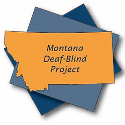 Montana Deaf-Blind Project logo is a golden outline of the state of Montana set on two blue squares of different shades.