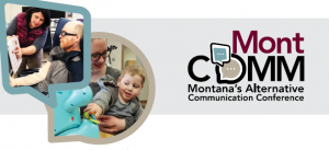 Little boy in mom's lap activating a toy, man in wheelchair learning about communication tool Michelle has mounted to chair. MontCOMM logo.