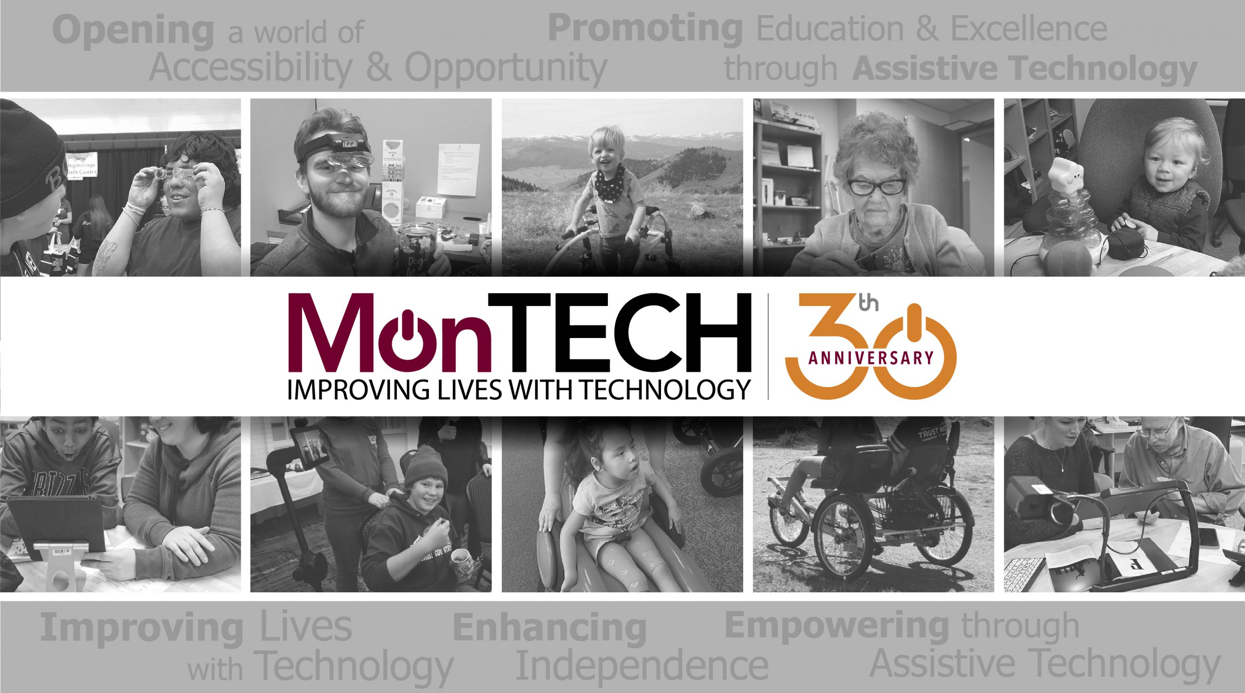 MonTECH 30th Anniversary logo with collage of MonTECH consumers