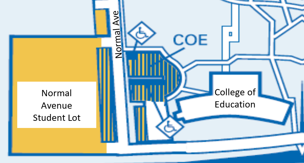 map of Normal Ave Student Lot across from College or Education