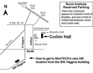 Map of MonTECH's location on University of Montana