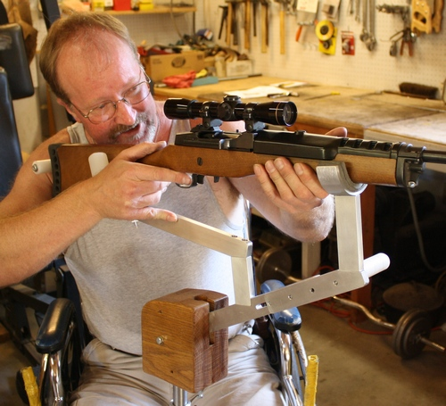 Scot Browne demos rifle rest for semi-quadriplegic